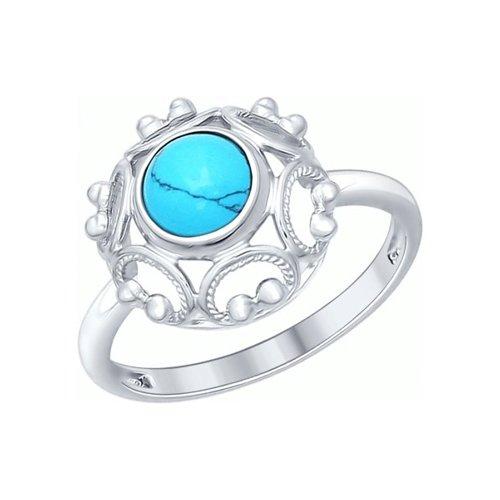 Кольцо из серебра с бирюзой (синт.) (83010029) - фото