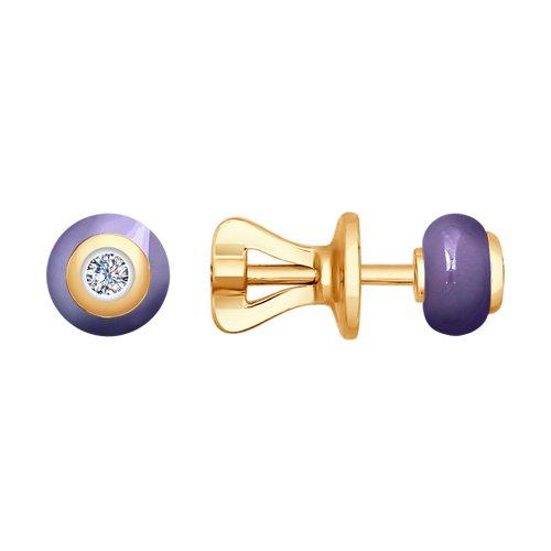 Серьги из золота с бриллиантами и керамикой (6025041) - фото