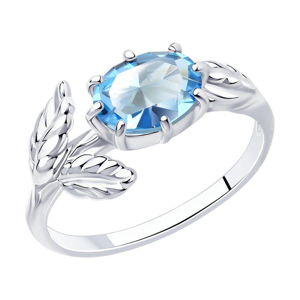 Фото - Кольцо SOKOLOV из серебра с родированием с кристаллом Swarovski sokolov кольцо из серебра с чёрным кристаллом swarovski 94012037 размер 19 5