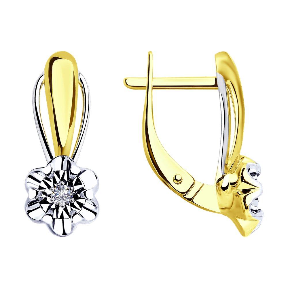 Серьги Diamant из желтого золота с бриллиантами серьги с бриллиантами цаворитами из желтого золота
