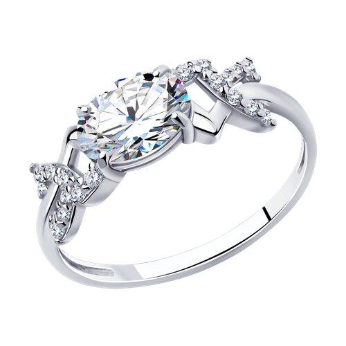 Кольцо из серебра с фианитами (94010706) - фото