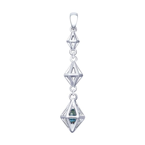 Подвеска SOKOLOV из серебра с голубым кристаллом Swarovski подвеска из серебра с кристаллом swarovski
