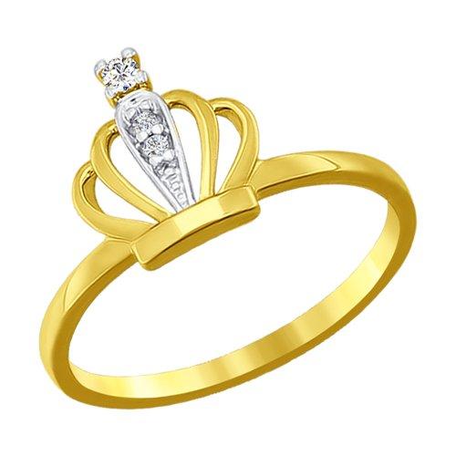 Кольцо из желтого золота с фианитами (016771-2) - фото