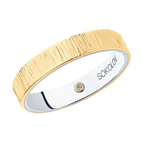 Кольцо из комбинированного золота (1114051-06) - фото