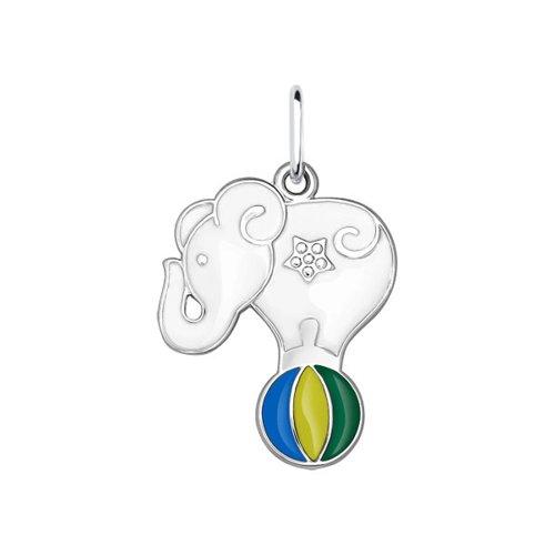 цена Подвеска SOKOLOV из серебра с эмалью «Цирковой слон» онлайн в 2017 году