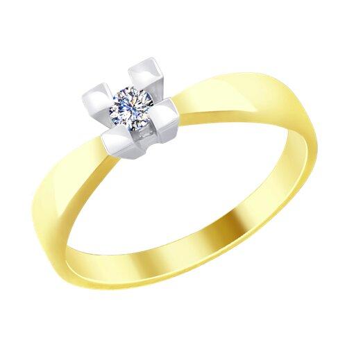 Кольцо из комбинированного золота с бриллиантом (1011676-2) - фото