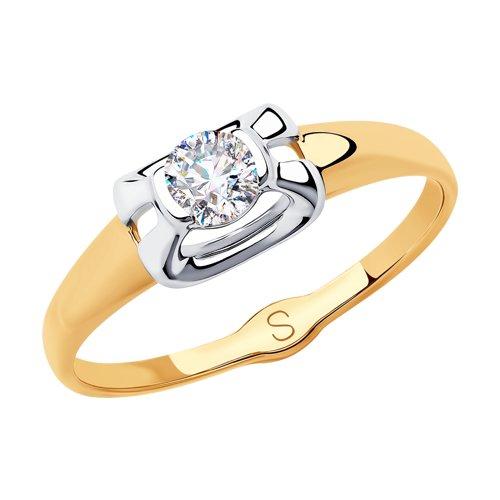 Кольцо из золота с фианитом (018201) - фото