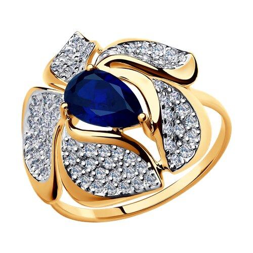 Кольцо из золота с корундом сапфировым (синт.) и фианитами 714709 SOKOLOV фото