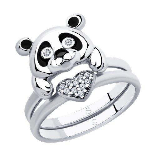 Кольцо из серебра с эмалью и фианитами (94012946) - фото