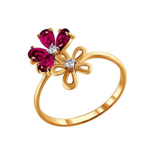 Фото - Кольцо с цветами SOKOLOV из рубинов и бриллиантов кольцо с дорожкой sokolov из чёрных бриллиантов