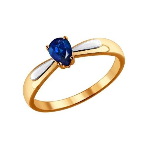 Золотое кольцо с натуральным сапфиром SOKOLOV фото