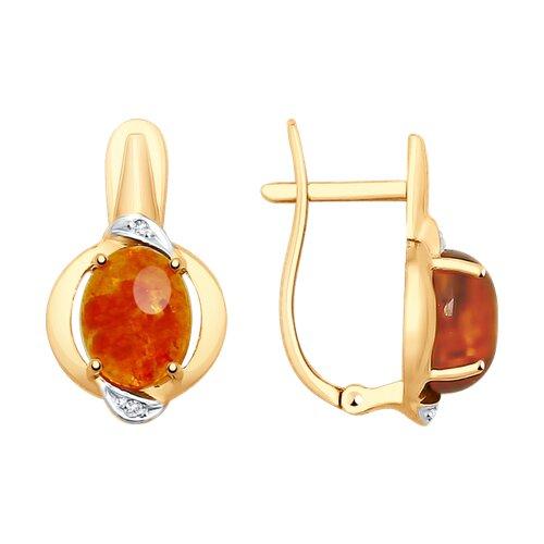 Серьги из золота с янтарём и фианитами (725492) - фото