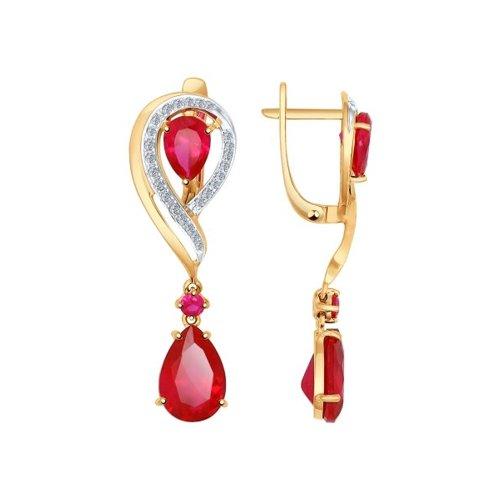 Серьги длинные из золота с бриллиантами и корундами рубиновыми (синт.)