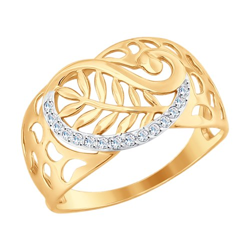 Кольцо из золота с фианитами (017649) - фото