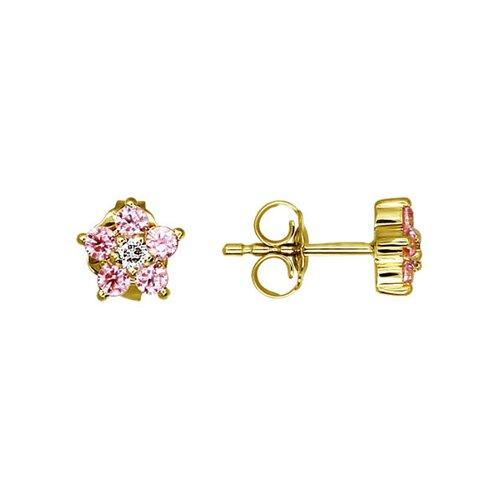 Серьги-пусеты из жёлтого золота с розовыми фианитами серьги пусеты из жёлтого золота с фианитами