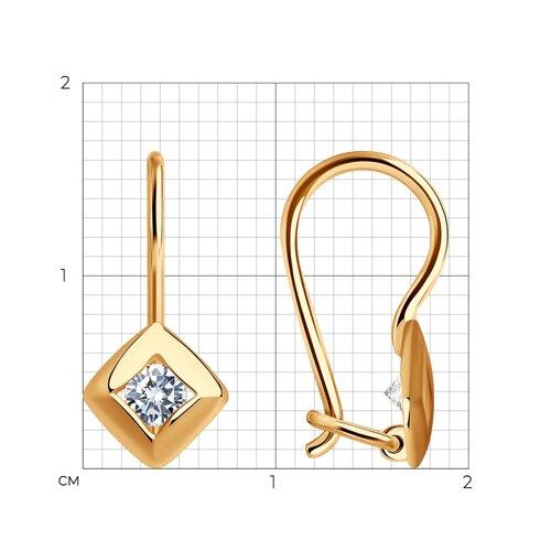Серьги из золота с фианитами (027174) - фото №2