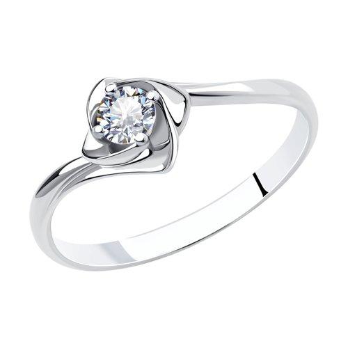 Помолвочное кольцо из белого золота с бриллиантом (1010525) - фото