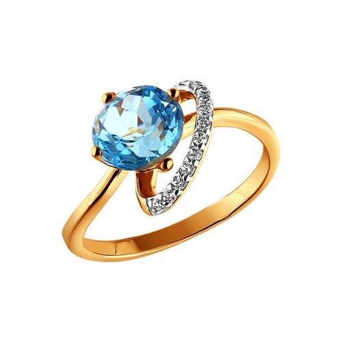 Золотое кольцо с голубым топазом SOKOLOV кюп женское золотое кольцо с куб циркониями и топазом alm1750203164 18 5
