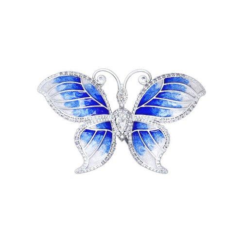 Брошь «Бабочка», украшенная эмалью и фианитами