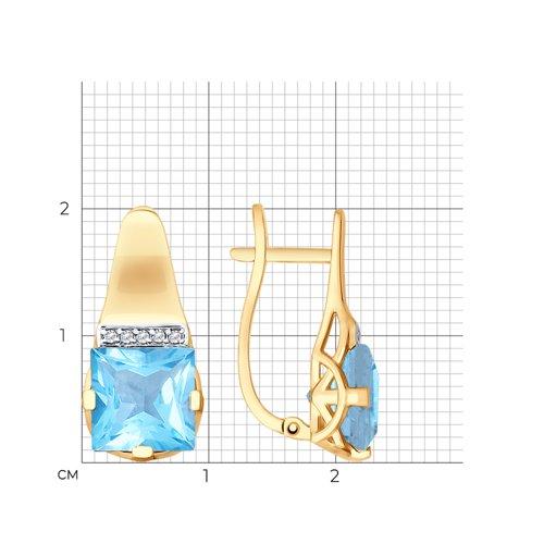 Серьги из золота с топазами и фианитами 725463 SOKOLOV фото 2