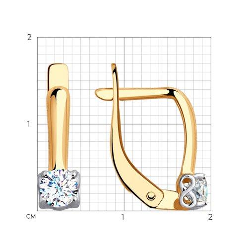 Золотые серьги с фианитами (027617) - фото №2