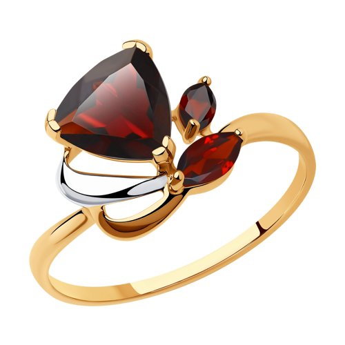 Кольцо из золота с гранатами (714624) - фото