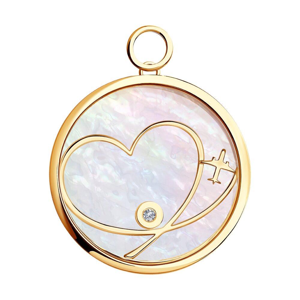 Золотая подвеска Charm «Любовь» SOKOLOV