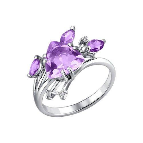 цена на Серебряное кольцо с аметистом SOKOLOV