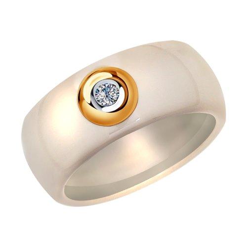Керамическое кольцо с золотом и бриллиантом (6015060) - фото