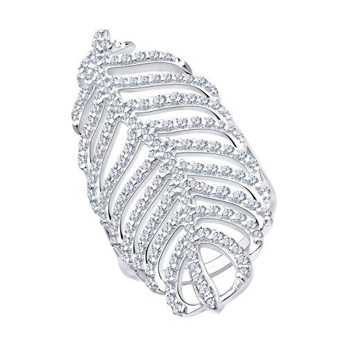 Кольцо из серебра с фианитами (94013131) - фото