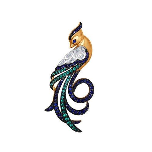 Золотая брошь «Птичка»