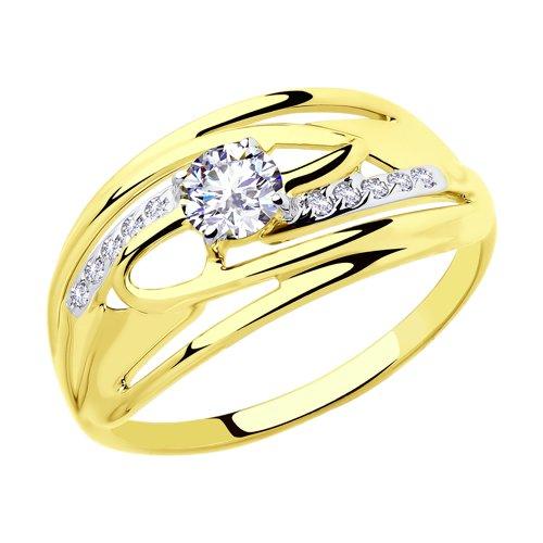 Кольцо из желтого золота с фианитами (018077-2) - фото