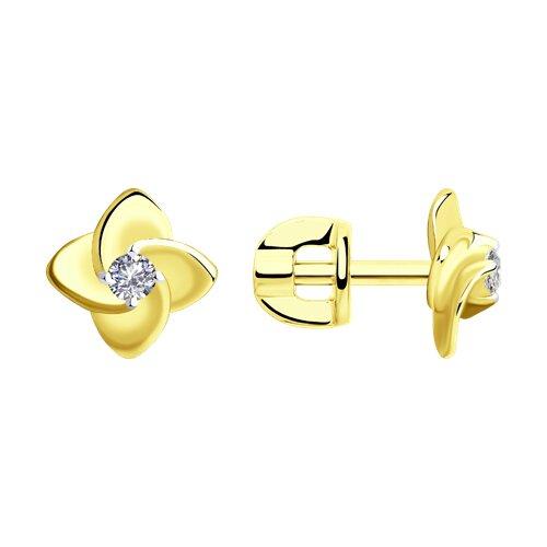 Серьги-пусеты из желтого золота с бриллиантами (1021448-2) - фото