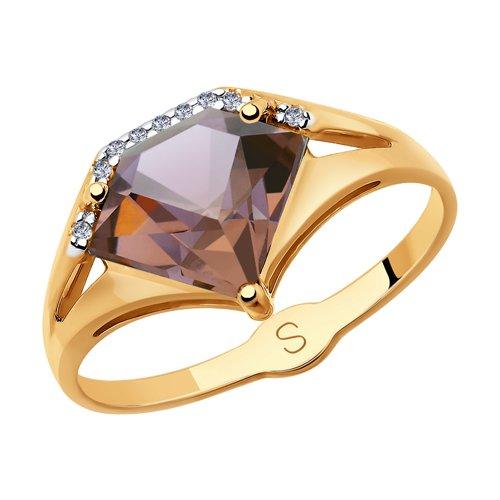 Кольцо из золота с ситаллом султанит и фианитами (715361) - фото