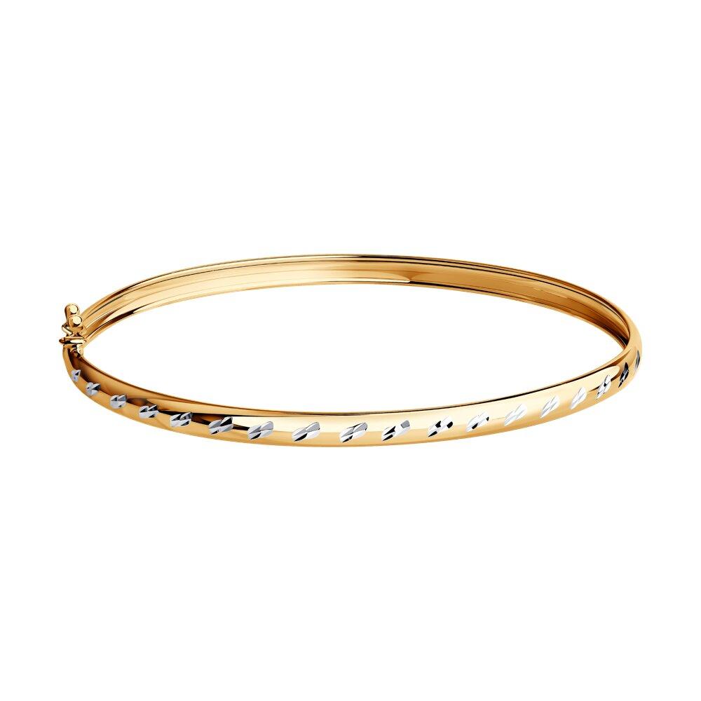 Жёсткий браслет SOKOLOV из золота с алмазной гранью