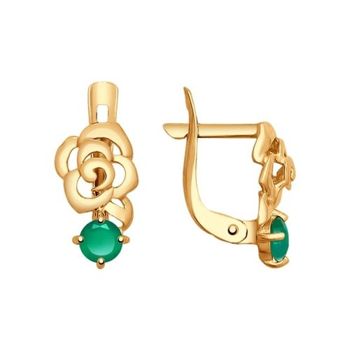 Серьги «Розы» из золота с агатами