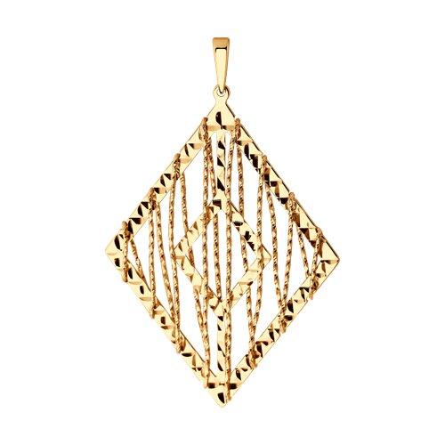 Подвеска из золота с алмазной гранью (035893) - фото