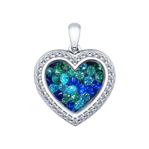 Серебряная подвеска «Сердце» с фианитами (94031953) - фото