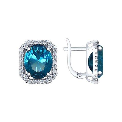 Серьги из серебра с синими ситаллами и фианитами
