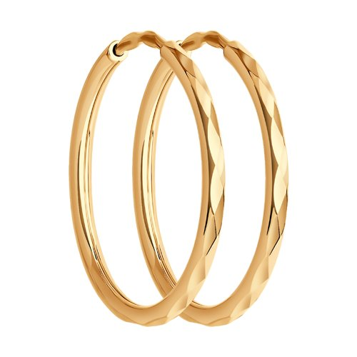 Серьги конго из золота с алмазной гранью (140062) - фото