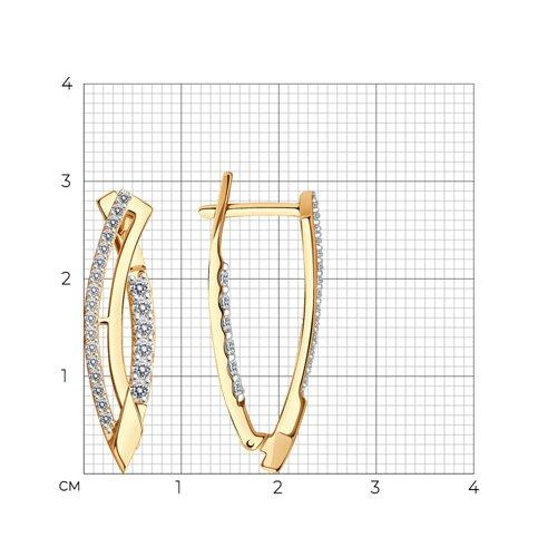Серьги из золота с фианитами (024758) - фото №2