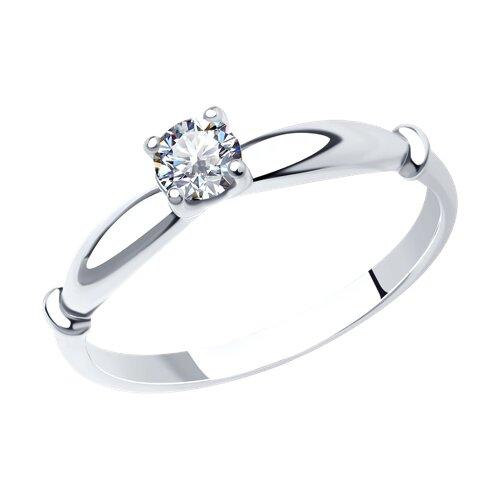 Серебряное помолвочное кольцо с фианитом (89010025) - фото