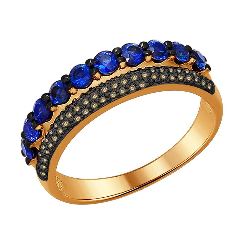 Кольцо SOKOLOV из золота с коньячными бриллиантами и сапфирами