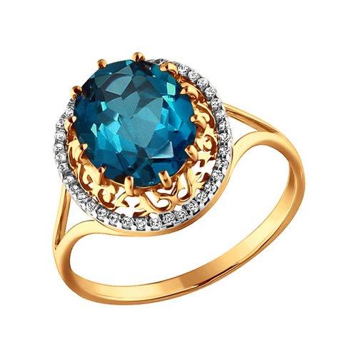 Ажурное кольцо с топазом london blue SOKOLOV ажурное кольцо с крупным голубым топазом sokolov