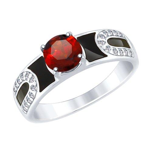 Кольцо из серебра с эмалью и гранатом и фианитами (92011489) - фото