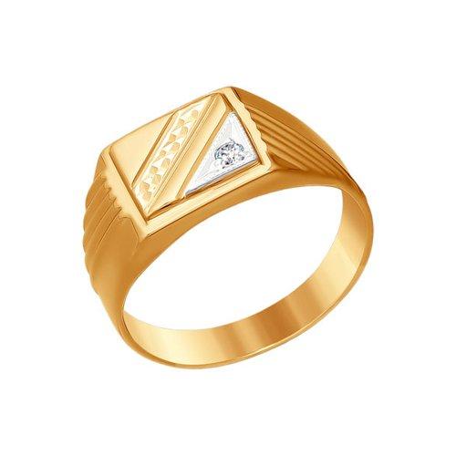 Печатка из комбинированного золота с алмазной гранью с фианитом