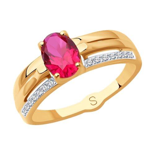 Кольцо из золота с красным корунд (синт.) и фианитами