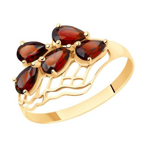 Кольцо из золота с гранатами (716035) - фото