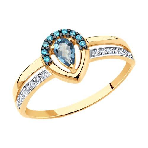 Кольцо из золота с синим топазом и фианитами 715716 SOKOLOV фото