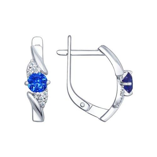 Серьги из серебра с синими фианитами (94022385) - фото